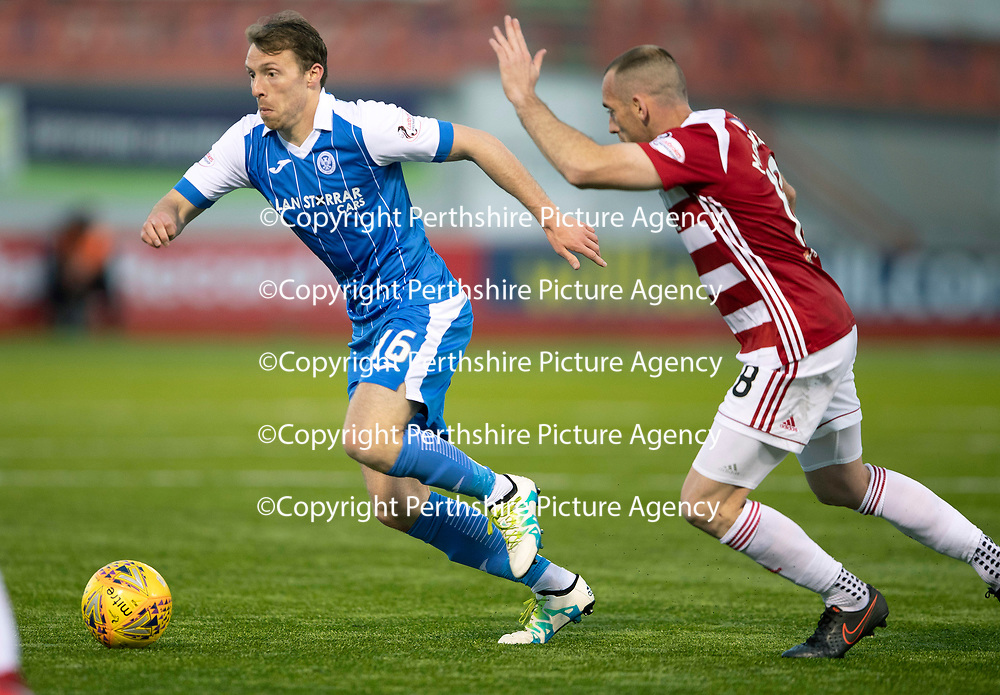 Hamilton Accies v St Johnstone…08.05.18…  New Douglas Park    SPFL<br />David McMillan gets away from Darian MacKinnon<br />Picture by Graeme Hart. <br />Copyright Perthshire Picture Agency<br />Tel: 01738 623350  Mobile: 07990 594431