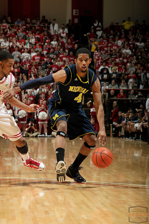 15 January 2011: Michigan Wolverines guard Darius Morris (4) as the Indiana Hoosiers played the Michigan Wolverines in a college basketball game in Bloomington, Ind.