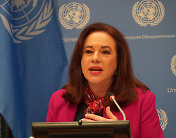 April 30, 2019 - New York Cty, New York, United States - President of the United Nations General Assembly María Fernanda Espinosa Garcés attend a press conference at the United Nations Headquarters on Tuesday, April 30, in New York. (Credit Image: © Selcuk Acar/NurPhoto via ZUMA Press)