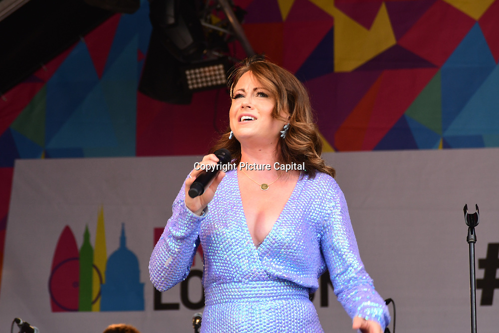 London, England, UK. 7th July 2018. L.A.D. FEAT Natalie Gray performs at the Pride parade in Trafalgar Square, London, UK on 7th July 2018.