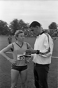 17/07/1967<br /> 07/17/1967<br /> 17 July 1967<br /> International Athletics at Santry Stadium, Dublin. Image shows J. Pollock of Poland (left) and Ron Clarke of Australia,  winners of the  Ladie's and Men's 880yd International race chatting after the Ladies' event.