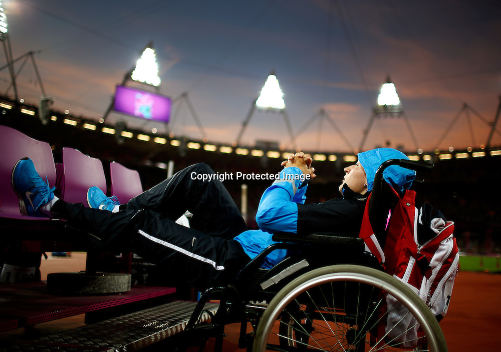 Elena Burdykina of Russia prepares to compete in the Women's Shot Put -F32/33/34 final at Olympic Stadium during the London 2012 Paralympic Games, London, Britain, 06 September 2012.  EPA/KERIM OKTEN