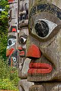 Totem poles, July, Thunderbird Park, Victoria, British Columbia, Canada