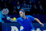 Roger Federer of Switzerland stretches during the Nitto ATP World Tour Finals at the O2 Arena, London, United Kingdom on 11 November 2018. Photo by Martin Cole