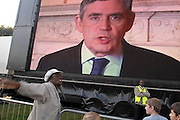 London 20/09/08: The People's March against knife crime: A protester joins in with the jeering and booing when a video greeting from Gordon Brown PM is played to the crowd