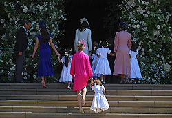Britain's Catherine (Top C) the Duchess of Cambridge arrives with bridesmaids and pageboys for the royal wedding ceremony of Britain's Prince Harry and Meghan Markle at St George's Chapel in Windsor Castle, in Windsor, Britain, 19 May 2018. Photo by Neil Hall/ABACAPRESS.COM