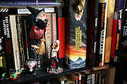 Vampyre gadgets and books are exposed on a shelf in Cecileís living room, in Camden Town, London, England, on Sunday, 10 June, 2007. The Vampyre Connexion is the largest and most active of all the vampire groups in the United Kingdom, counting more than 100 members that for years have gathered regularly in London to share their common love for vampires and the Dark side of life. The Connexion raised from the hashes of the Vampyre Society, the first vampire appreciation group in 1995. The group believe in the fantasy of vampires and such creatures and live it to the full. Its  roots are to be found in the legends of Bram Stokerís Dracula. The group prints its own magazine, ëDark Nightsí featuring drawings, poetry, stories, photography and events. All of the members dress very peculiar clothing, and this is a very important part of the life of the group; it is respected with pride, taste and accuracy for the detail. Most like to dress to be elegant in a range of styles from regency to Victorian, some sew their own. In addition members visit art galleries, cemeteries, churches and cathedrals, attend gigs and concerts, and hold their own parties throughout the year, Halloween being the biggest and scariest one. Membership is open to all, the only qualification: being a love of all things Vampyric.**ItalyOut**