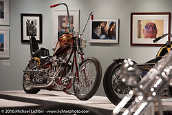 Steve Peffer's Steel City Choppers custom Evo/Panhead in Michael Lichter's Skin & Bones tattoo inspired Motorcycles as Art show at the Buffalo Chip Gallery during the annual Sturgis Black Hills Motorcycle Rally.  SD, USA.  August 10, 2016.  Photography ©2016 Michael Lichter.