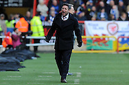 Bristol City manager Lee Johnson celebrates Joe Bryan's (out of shot) opening goal.EFL Skybet championship match, Bristol City v Cardiff City at the Ashton Gate Stadium  in Bristol, Avon on Saturday 14th January 2017.<br /> pic by Carl Robertson, Andrew Orchard sports photography.