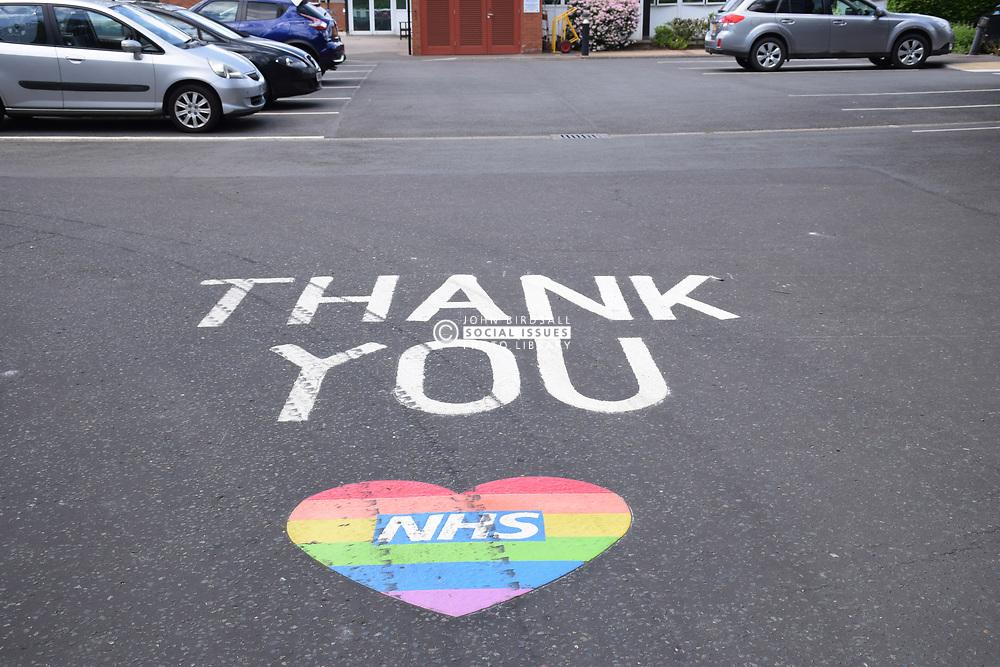 Thank you & NHS rainbow heart at entrance to Colman Hospital during Coronavirus lockdown, Norwich UK May 2020