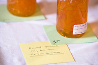 Jar of homemade marmalade judged as best in show at a country fair
