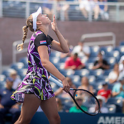 2019 US Open Tennis Tournament- Day Six.  Elise Mertens of Belgium celebrates her victory against Andre Petkovic of Germany in the Women's Singles round three match on Grandstand Stadium during the 2019 US Open Tennis Tournament at the USTA Billie Jean King National Tennis Center on August 31st, 2019 in Flushing, Queens, New York City.  (Photo by Tim Clayton/Corbis via Getty Images)
