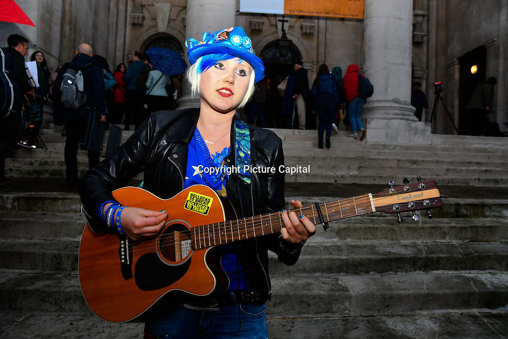 "Madeleine Kay is a singer and song-writer preforms ""We can be te change"" at St John Smith Square ahead of the European Paliament Election on 8 May 2019, London, UK."