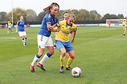 Brighton & Hove Albion defender Maya Le Tissier (6)  takes on Everton midfielder Megan Finnigan (20) during the FA Women's Super League match between Everton Women and Brighton and Hove Albion Women at the Select Security Stadium, Halton, United Kingdom on 18 October 2020.
