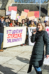 Pictured: Mary Senior, Scottish Official University and College Union introduced the speakers <br /> University pensions row rally was held outside the Scottish Parliament in Edinburgh today. University staff were joined by politicians and students as part of the strike action event. <br /> <br /> Ger Harley | EEm 8 March 2018
