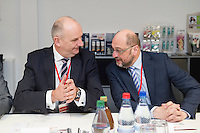 22 FEB 2017, KOENIGS WUSTERHAUSEN/GERMANY:<br /> Dietmar Woidke (L), SPD, Ministerpraesident Brandenburg, und Martin Schulz (R), SPD, Kanzlerkandidat, im Gespraech, waehrend dem Besuch der Firma Schelchen GmbH, pedag International<br /> IMAGE: 20170222-01-005<br /> KEYWORDS: Gespraech