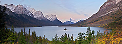 Snow covered peaks above St. Marys Lake in Glacier National Park at sunrise