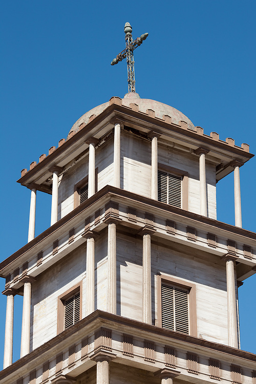 Church tower of the Cathedral of Copiapo at main square, Chile