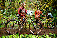 Mountain biking on a wet, muddy day along the  Oregon Coast.