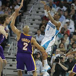 23 December 2008: New Orleans Hornets guard Chris Paul (3) throws past Lakers defender Derek Fisher (2) during a 100-87 loss by the New Orleans Hornets to the Los Angeles Lakers at the New Orleans Arena in New Orleans, LA. .