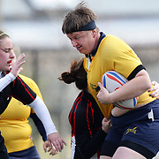 Action from the Norfolk (yellow) V Brandywine Women's Rugby match during the Four Leaf 15's Club Rugby Tournament at Randall's Island New York. The tournament included 70 teams in 6 divisions, organized by the New York City Village Lions RFC. Randall's Island, New York, USA. 23rd March. Photo Tim Clayton