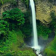 Cascades plunging off a cliff in the Ecuadoran jungle.