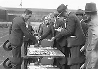 H888<br /> Aonach Tailteann Athletics - Croke Park. Presentation of prizes. 1928. Mr. J.J. Keane, President of the N.A.C.A. at the conclusion of the games. 19/8/1928 (Part of the Independent Newspapers Ireland/NLI Collection)