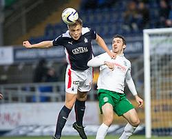 Falkirk's Peter Grant and Hibernian's Paul Heffernan.<br /> haft time ; Falkirk 0 v 0 Hibernian, Scottish Championship game played 6/12/2014 at The Falkirk Stadium .
