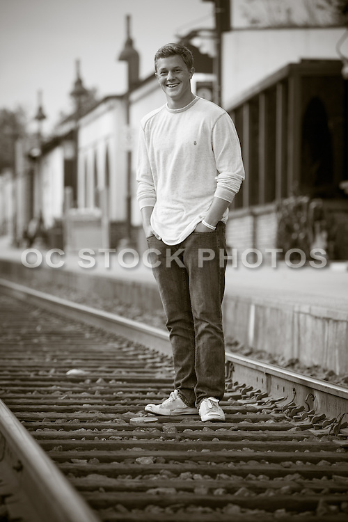 Standing on the Train Tracks at the Depot in San Juan Capistrano California