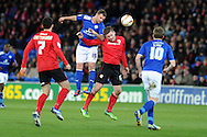 Leicester city's Richie Wellens wins a header from Cardiff's Aron Gunnarsson. NPower championship, Cardiff city v Leicester city at the Cardiff city stadium in Cardiff, South Wales on Tuesday 12th March 2013.  pic by  Andrew Orchard, Andrew Orchard sports photography,