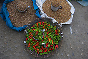 Chilli peppers in market<br /> Upper Subansiri District<br /> Arunachal Pradesh<br /> North East India
