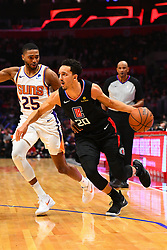 February 14, 2019 - Los Angeles, CA, U.S. - LOS ANGELES, CA - FEBRUARY 13: Los Angeles Clippers Guard Landry Shamet (20) drives to the basket during a NBA game between the Phoenix Suns and the Los Angeles Clippers on February 13, 2019 at STAPLES Center in Los Angeles, CA. (Photo by Brian Rothmuller/Icon Sportswire) (Credit Image: © Brian Rothmuller/Icon SMI via ZUMA Press)