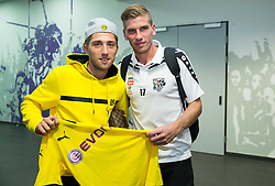 Kevin Kampl of Borussia Dortmund and Tadej Trdina of WAC in mixed zone after the football match between WAC Wolfsberg (AUT) and  Borussia Dortmund (GER) in First leg of Third qualifying round of UEFA Europa League 2015/16, on July 30, 2015 in Wörthersee Stadion, Klagenfurt, Austria. Photo by Vid Ponikvar / Sportida