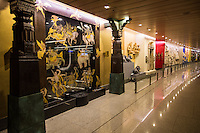 Mumbai's new airport gets rave reviews for its public art, known as Jaya He.  The gallery in terminal 2 or T2 was conceived as an intro to the city of Mumbai and of India as a whole. Reflecting multi-layered aspects of India, the collection has evolved into a multi-media showcase and one of India's largest public art initiatives.   The artwork is shown in the arrivals hall as well as on a wall designed to direct circulation of passengers through the airport.  Jaya He brought together artists, artisans, architects, art historians and designers together to interpret India in a manner that leaves visitors without any doubt that they are in India.