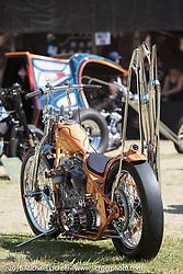 BF8 Invited builder Matt Jackson's Jackson Choppers Harley-Davidson Panhead chopper at the Born Free 8 Motorcycle Show on Sunday. Silverado, CA, USA. June 26, 2016.  Photography ©2016 Michael Lichter.