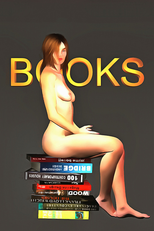 We see a naked woman sitting calmly on a stack of books. These books cover a myriad of subjects, but we can see that many of them are about buildings. You could go so far as to say that these books deal in the subject of growth, and perhaps the subject of expansion, as well. As you think about the books in this fine art piece, regard the look on the face of the naked woman. We can't say for certain what she is thinking. There is no cruelty in her eyes, and yet there is something about the way she looks at us that takes us to a strange, fascinating place within our own minds. .<br />