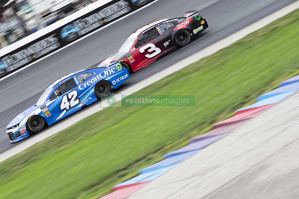 July 22, 2018 - Loudon, New Hampshire, United States of America - Kyle Larson (42) races off turn four during the Foxwoods Resort Casino 301 at New Hampshire Motor Speedway in Loudon, New Hampshire. (Credit Image: © Stephen A. Arce/ASP via ZUMA Wire)