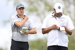May 30, 2019 - Dublin, OH, U.S. - DUBLIN, OH - MAY 30: Jordan Spieth talks with his caddy Michael Greller during the first round of The Memorial Tournament on May 30th 2019  at Muirfield Village Golf Club in Dublin, OH. (Photo by Ian Johnson/Icon Sportswire) (Credit Image: © Ian Johnson/Icon SMI via ZUMA Press)