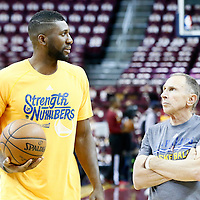 08 June 2016: Golden State Warriors assistant coach Ron Adams is seen next to Golden State Warriors center Festus Ezeli (31) prior to the Cleveland Cavaliers 120-90 victory over the Golden State Warriors, during Game Three of the 2016 NBA Finals at the Quicken Loans Arena, Cleveland, Ohio, USA.