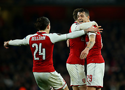Granit Xhaka of Arsenal celebrates with teammates after scoring a goal to make it 2-1 - Mandatory by-line: Robbie Stephenson/JMP - 15/03/2018 - FOOTBALL - Emirates Stadium - London, England - Arsenal v AC Milan - UEFA Europa League Round of 16, Second leg
