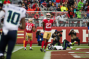 San Francisco 49ers cornerback Ahkello Witherspoon (23) celebrates a defensive stop against the Seattle Seahawks at Levi's Stadium in Santa Clara, Calif., on November 26, 2017. (Stan Olszewski/Special to S.F. Examiner)
