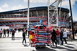 Scarves for sale outside of the stadium<br /> <br /> Photographer Simon King/Replay Images<br /> <br /> Guinness PRO14 Round 21 - Dragons v Scarlets - Saturday 27th April 2019 - Principality Stadium - Cardiff<br /> <br /> World Copyright © Replay Images . All rights reserved. info@replayimages.co.uk - http://replayimages.co.uk