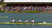 2005 FISA World Cup, Dorney Lake, Eton, ENGLAND, 28.05.05. GBR M4- Bow Steve Williams, Peter Reed, Alex partridge and Andy Twiggs- Hodge  winning the final and medal presentation. .Photo  Peter Spurrier. .email images@intersport-images....[Mandatory Credit Peter Spurrier/ Intersport Images] , Rowing Courses, Dorney Lake, Eton. ENGLAND