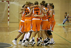 Netherlands team at basketball qualification match of women division B  between National teams of Slovenia and Netherlands, on August 27, 2008, in Vitranc Hall, Kranjska Gora. Win of NED 83:81. (Photo by Vid Ponikvar / Sportida)