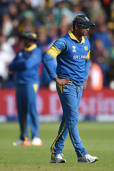 Sri Lanka's Angelo Mathews stands dejected during the ICC Champions Trophy, Group B match at Cardiff Wales Stadium.