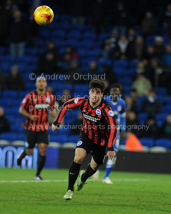 Joao Teixeira of Brighton in action. Skybet football league championship match, Cardiff city v Brighton & Hove Albion at the Cardiff city Stadium in Cardiff, South Wales on Tuesday 10th Feb 2015.<br /> pic by Andrew Orchard, Andrew Orchard sports photography.