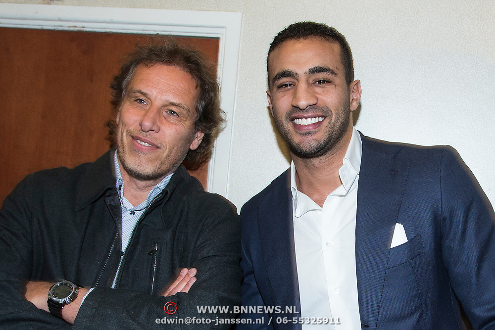NLD/Amsterdam/20140422 - Boekpresentatie Badr Hari, Badr en schrijver Maarten Bax