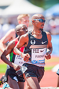 2012 London Olympic gold medalist MO FARAH (GBR) in the Mens 5000m competition during the second day of the Diamond League event Prefontaine Classic held at the University of Oregons Hayward Field.The Prefontaine Classic is named for University of Oregon track legend Steve Prefontaine. Farah finished in second place with a time of 13:05:88.