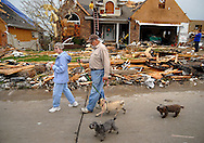 23 APRIL 2011 -- BRIDGETON, Mo. -- Residents in the Harmann Estates subdivision walk their dogs through damaged homes on Beaverton Drive in Bridgeton, Mo. Saturday, April 23, 2011. The homes were damaged and destroyed in an apparent tornado that struck the community Friday, April 22, 2011. Image © copyright 2011 Sid Hastings.