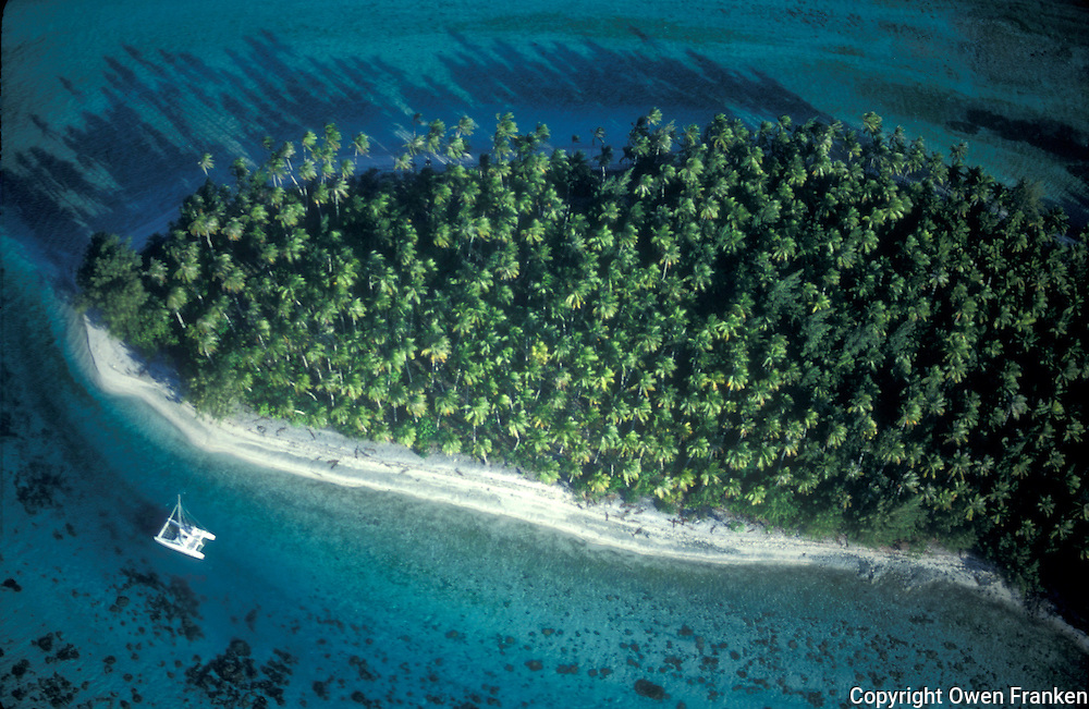 French Polynesia, Islands in the South Pacific, part of the French overseas Territories, aerial view of a moto near Moorea...Photo by Owen Franken